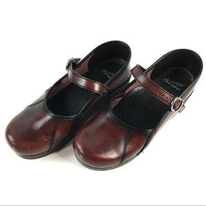 DANSKO MARCELLE MARY JANE CLOG  LEATHER EU 38 US 8